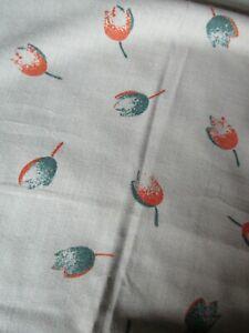 Long Piece Vintage 1970's Printed 'Tulip' Pattern Cotton mix Fabric - Unused