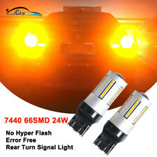 7440 Amber Yellow LED Turn Signal Lights No Hyper Flash Canbus Error Free 2600LM