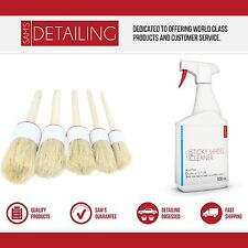 Car valeting detailing brush set 5 x different sizes with 500ml wheel cleaner