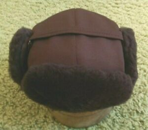 Brown Mouton Fur / Cordura Trooper Hat, XL, NEW, Langenberg Hat Company, USA