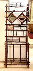 Antique English Art Deco Tortoise Shell Bamboo Halltree 1900s Mirrors & Tile
