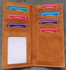Mens Women's Brown Tan GENUINE LEATHER Checkbook Cover Credit Card Holder WALLET