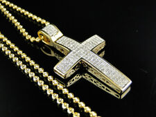 Hot Mini Genuine Diamond Cross Pendant Charm 0.75 Ct in 10k Yellow Gold Finish