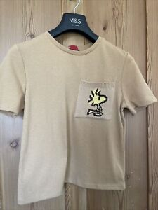 Zara Peanuts sand camel T-shirt Size S. Brand new with tags