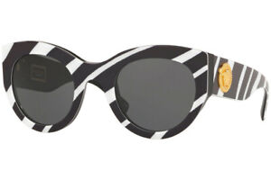 Authentic VERSACE VE4353-531387 Sunglasses White/Black/Grey *NEW* 51 mm