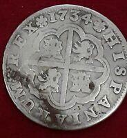 MONEDA DE 2 REALES PLATA FELIPE V 1734 (PA) SEVILLA CALIDAD BC+