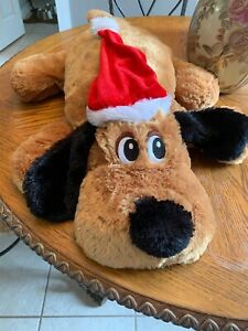 Dan Dee Brown Floppy Dog Puppy Red Christmas Hat Soft Cuddly Plush Stuffed Pal
