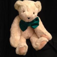Vermont Teddy Bear Beige Plush Stuffed Fully Jointed Animal Toy Green Velvet Bow