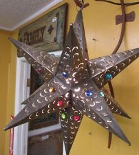 Moorish Punched Tin Marble Star Lamp-Mexican Folk Art-Handmade-23 in-Large