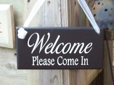 Welcome Please Come In Wood Vinyl Front Entrance Decorative Door Sign for Homes