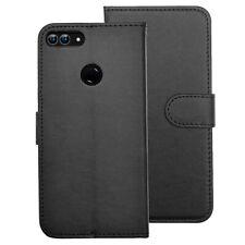 SDTEK PU Leather Wallet Flip Cover Case for Huawei P Smart  2017 / 2018 (Black)
