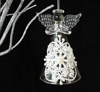 Lace&Glass Christmas Angel Tree Decoration Guardian Hanging Vintage Decorations