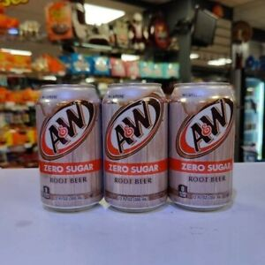 A&W Root Beer ZERO 12oz (355ml) X 3 cans. USA Import