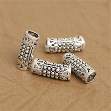 4 Sterling Silver Curve Hollow Tube Bead 4.5mm Hole 925 Silver Spacer Bead