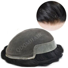 French Lace Front Mens Toupee Hairpiece Poly Skin PU Hair Replacement System Wig