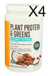 Plant Protein & Greens Coconut Almond 18 oz X4 Exp 12/21-2/22 Whole Foods