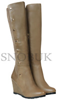 NEW WOMENS LADIES ZIP MID HEEL WEDGE BUCKLE PLATFORM MID CALF  BOOTS UK SIZE 3-8