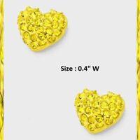 "0.4"" Small Mini Rhinestone Crystal Heart Pierced Stud Earrings Love Wedding Prom"