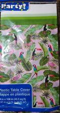 NEW VINYL SINGLE USE TABLECLOTH 108 X 54 Party Easy Clean up FLAMINGOS & TOUCANS