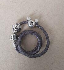 Pandora Lavender Double Braided Leather, Sz D1 Disneyland 60th Peace Love Mickey