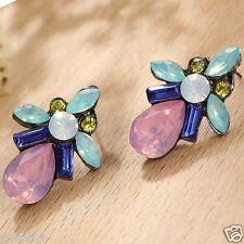 Long Ear Stud Hoop earrings 108 Handmade 1pair Woman's Multi Crystal Rhinestone