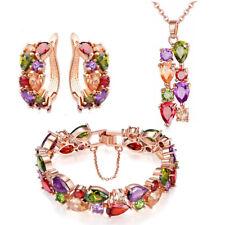 3pc Lot Mona Lisa Women Jewelry Morganite Topaz Gems Bracelet Earrings Necklace