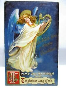 1909 POSTCARD TO WISH YOU HAPPY CHRISTMAS,ANGEL WITH HARP,IT CAME UPON MIDNIGHT