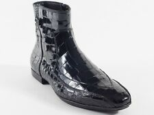 New  Cesare Paciotti Black Croc-Embossed Boots UK 5 US 6 Retail $ 695