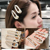 Fashion Women Pearl Hair Clip Gift Snap Barrette Stick Hairpin Hair Accessories