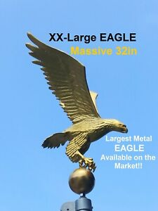 Flagpole Eagle Topper Decorative Gold Finial Globe Outdoor XX-Large 32 inch