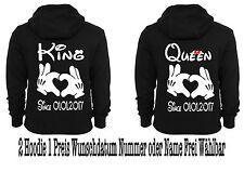 Hoodie Pullover mit King Queen  Motiv 2 Stück Partner Look Viele Farben XS-5XL