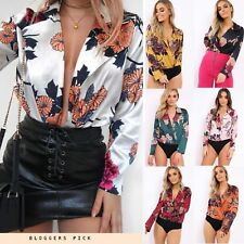 Womens Ladies Plus Size Floral Collard V Neck Plunge Slinky Silk Satin Bodysuit