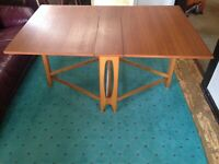 Danish MId-Century Modern Drop Leaf Folding Teak Dining Table (Made in Norway)