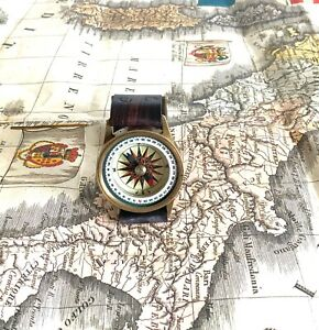 New Vintage Solid Brass Nautical Compass Wrist Watch  Sailors Wrist Compass