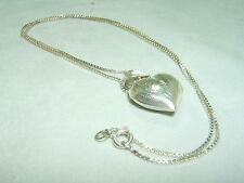 Sterling Silver Box Chain Necklace With Puffy Heart Pendant