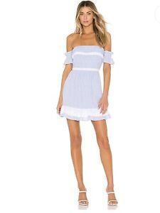 womens House of Harlow 1960 $153 Adeline Dress NWT in Dusty Blue Stripe size S