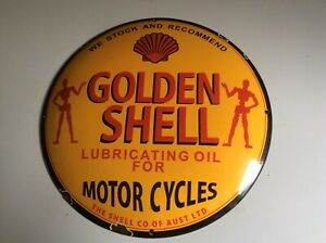 LARGE GOLDEN SHELL LUBRICATING OIL FOR MOTOR CYCLES ENAMEL SIGN