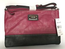 Brand New Purse - Nine West In The Fold Crossbody two tone Cranberry - Black
