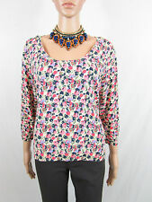 H&M Womens Floral Thin Knit Floral Pattern Scoop Neck Plunge Jumper sz L AR96