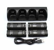 4X Rechargeable Battery Pack + Charger Dock Station for Nintendo Wii Remote