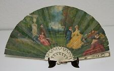 AB116 ANTIQUE FAN. CARVED STICKS. HAND PAINTED. FRANCE. 19th CENTURY