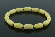White Butterscotch Baltic Amber and Gold Adult Bracelet for Men Women
