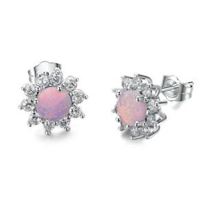 Women Cute Silver Round Cut Pink Simulated Opal Stud Earrings Wedding Jewelry