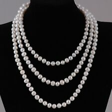 High Lustre Real Freshwater Pearl Necklace - 60'' Long length