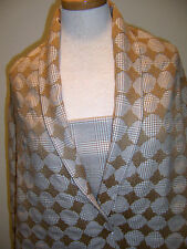 COUTURE WOOL FABRICS BEIGE WHT GLEN PLAID W/ BEIGE CHECK EMBROIDERY + PLAIN FABR