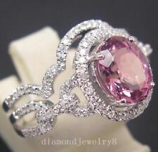 14K Solid White Gold Natural Pink Tourmaline Engagement Diamonds Wedding Ring
