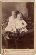 LITTLE GIRLS WITH MUSICAL HORN BY MILLER, BIRMINGHAM, CONN., CABINET CARD