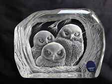 More details for dartington capredoni owls crystal paperweight signed