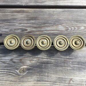"""5 Old Antique Brass Georgian Style Cupboard Door Knobs Screw Fit 2"""" Diameter"""