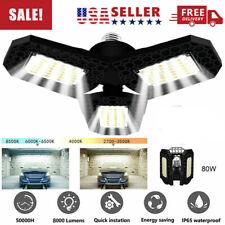 E27 8000Lm 80W Deformable Led Garage Light Bulb Fixture Ceiling Workshop Lamp Us